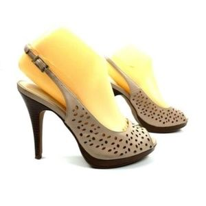Kelly Katie Heels Size 7.5 Taupe Beige Perforated